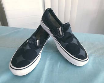 Retro Vans Slips Ons in Black and Gray Polka Dot  Size