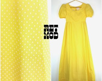 Cute Vintage 60s 70s Pastel Yellow Swiss Dot Maxi Dress with Puffed Sleeves!