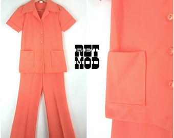 Iconic and Fun Vintage 70s Peach Polyester Leisure Suit!
