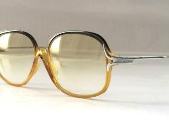 80s Vintage Austrian Made Viennaline 1075J Amber Yellow Green Sunglasses