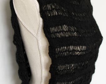 Black Knitted Mohair Cotton Vest/Top