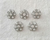 Vintage 20mm Rhinestone Buttons - Set of 5