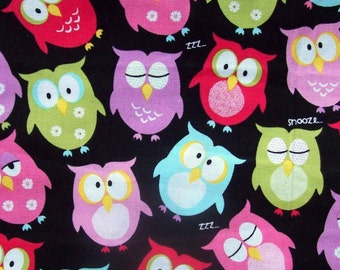Colorful Owls on Black for Brother Sister Design Studios - 1/4 Yard                                                 02-13-2017
