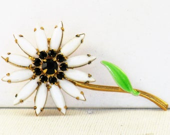Vintage Black and White Milk Glass and Rhinestone Floral Brooch Pin (B-1-3)