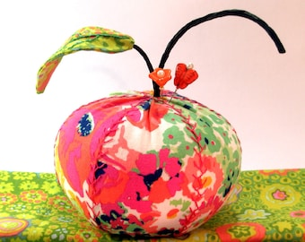 Pincushion- Modern Poppy Garden Apple, Apple Pincushion- - Ready to Ship