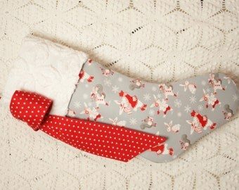 Precious Children's Christmas Stocking with Vintage Chenille Cuff, Woodland Design, Playful Bunnies, Squirrels and Snowflakes