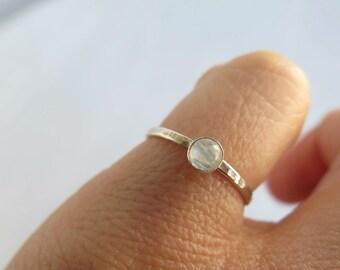 Tiny rainbow moonstone ring, small june birthstone ring, sterling silver stackable birthstone ring