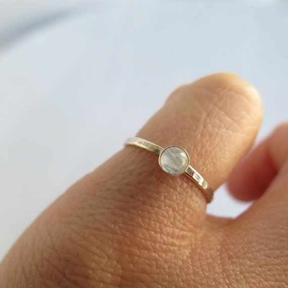 Tiny rainbow moonstone ring, small june birthstone ring, sterling silver stackable birthstone ring