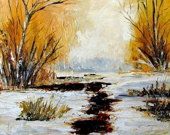 Stream     Original Landscape Oil Painting,
