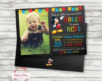 Mickey Mouse Photo Birthday Invitation - Mickey Birthday Photo Invitation - Mickey Mouse Clubhouse Party Supplies - Printable - Digital File