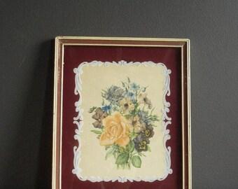 30% off SALE Sweet Back-Painted Glass Art - Vintage Frame with Old Floral Illustration (print)