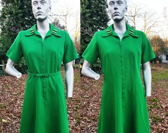 SALE 30% OFF 60s Dress in Green, Vintage Dress, 60s Costume, Double Knit Dress, Green Dress by Mize Modes Size 14