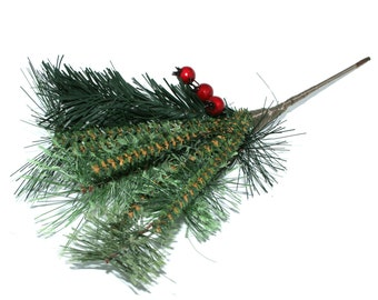 Christmas Pine Stem with Holly Berries