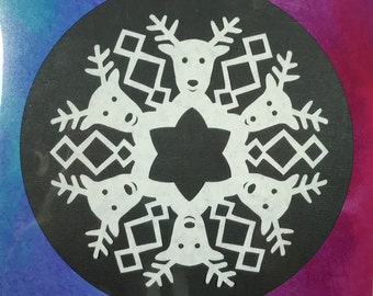 "50% OFF! Reindeer Snowflake Print on watercolor background - Archival Print - 8x8"" - SALE!"
