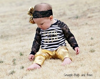 Sizes 12M - 6 - Gold or silver polka dot leggings and black and white stripe lace/knit raglan shirt-you customize word on shirt