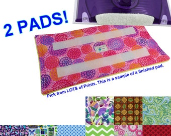 2 Washable Reusable Eco Friendly Pads for the Swiffer Wet Jet. Secures with Velcro with Terry Cloth. LOTS of Prints. Handmade in Detroit MI