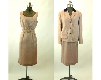 1950s linen dress suit velvet collar three button jacket wiggle dress with belt mauve tan Size S/M