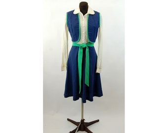 1970s dress with vest bolero ruffled blouse blue green linen shirt dress Verona Size S/M