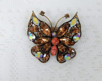 Vintage Regency Signed Butterfly Brooch    Beautiful  Brilliant Amber Stones  Free ship in USA