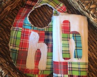 Baby Boy Bib, Bibs, Baby Bib, Plaid Bib, Baby Shower Gift, Personalized Bib, Burp cloth Set, Bib and Burp Set, Custom Bibs, Baby Boy Gift