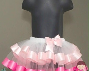 READY TO SHIP Tiered light pink, teal and hot pink tutu 1-3T