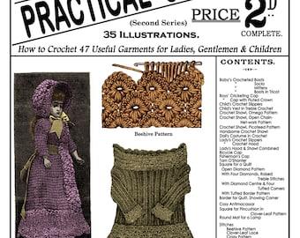 Weldon's 2D #6 c.1885 - Practical Crochet Victorian Garments & Stitches (PDF EBOOK -Digital Download) Plus Bonus Pages