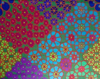 Kaffe Fassett Tile Flowers, green, rare OOP, vhtf, half yard floral fabric