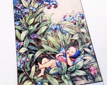 Forget Me Not Fairy - Gift Tags - Set of 3 - Fairy Baby Tags - Edwardian Fairy - Blue Flower Fairy - Fairy Fantasy - Woodland Fairy