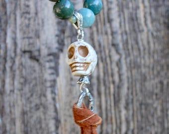 Skull Tassel Necklace Halloween Dia de Los Muertos Day of the Dead Suede Silver Green Multi Color Beads Sugar Skull