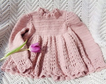 Crocheted Newborn Dress Cashmerino Yarn Light Pink Baby Girl 0 6 mo