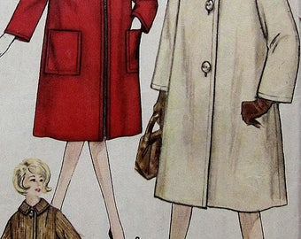 Vintage  Coat Sewing Pattern Simplicity 4637 Size 14