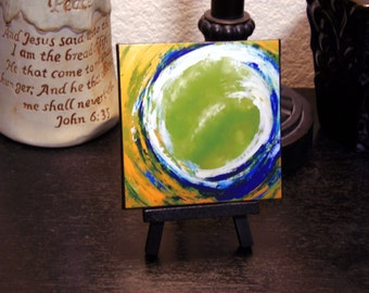 """Miniature Print on Canvas with Easel from Original Abstract Painting by Bryan Dubreuiel 4""""h by 4""""w Glazed Print"""