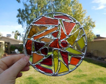 Stained Glass Abstract Suncatcher -Handmade-Suncatcher-Unique Gift-Birthday-House Warming-Wedding-Fun-For Her or Him-Decor-Red-Orange-Yellow