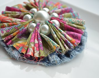 Colorful Fabric Brooch. Statement  Brooch. The Twillypop Blossom Brooch. Liberty of London.  Denim. Gift Under 30. Gift for mom. Lapel Pin