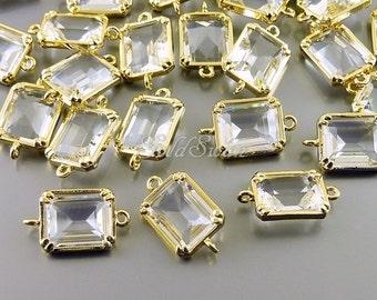 2 Geometric rectangle clear crystal glass stone connectors, bracelet charms, necklace pendants 5035G-CL