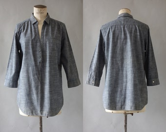 Blue cotton blouse | 1990's by cubevintage | small to medium