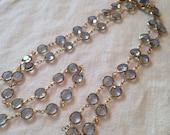 Reserved for Mariia Swarovski Necklace Bezel Crystal Pale Blue