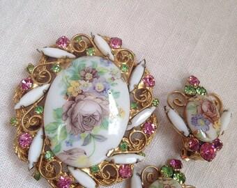 Juliana Transfer Flower Brooch and Earrings Milk Glass Rhinestones