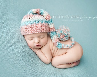 Elf Hat in Pink, Cream, and Aqua with braided tail