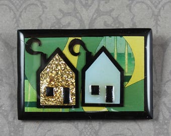 Vintage Green, Blue, Gold and Black House Pin by Lucinda Resin Rectangular Brooch