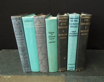 Book Collection in Shades of Blue - Vintage Book Stack - Instant Library - Old Books for Decor