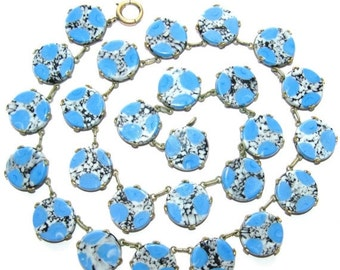 Scorpio Birthday SALE Beautiful Art Deco Open Back Blue Black Art Glass Vintage Art Deco Necklace