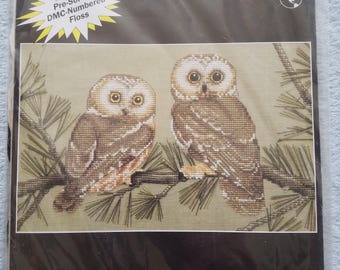 Saw Whet Owls by Cathy Livingston Cross Stitch Kit Unopened