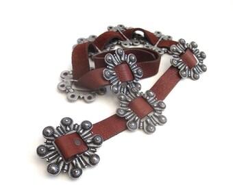 Vintage Brown Leather Disc Concho Belt // Size 36