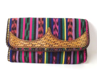 Vintage Multicolored Boho Woven Clutch