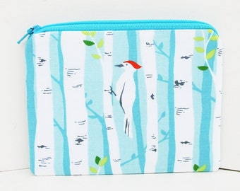 Bird Forest, Small Zippered Pouch, Coin Purse, Pale Teal