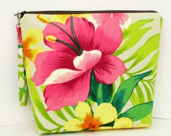 Tall Zippered Pouch, Bahama Island Floral, Tropical Project Bag with Strap, Canvas Cosmetic Bag
