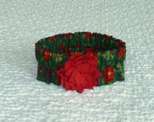 """Dog Collar, Pet Bandana, Flowers and Flakes Dog Scrunchie Collar with red rayon flower - Size L: 16"""" to 18"""" neck"""