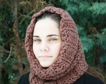 Clay - Earthy Brown Chunky Cowl - Easy Cowl Pattern - Chunky Crochet Pattern - Circle Scarf - Chunky Crochet Cowl - Crocet Neck Warmer