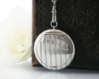 Antique Locket | French Edwardian Sterling Silver Locket | Pill Case | Compact with Mirror | Chatelaine Case - 34 Inch Long Chain, Fob Clip